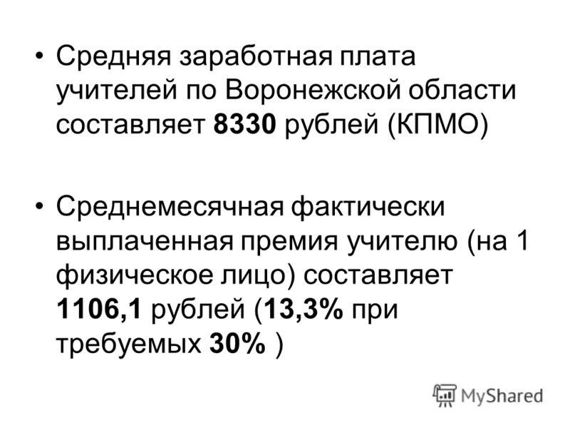 Средняя заработная плата учителей по Воронежской области составляет 8330 рублей (КПМО) Среднемесячная фактически выплаченная премия учителю (на 1 физическое лицо) составляет 1106,1 рублей (13,3% при требуемых 30% )