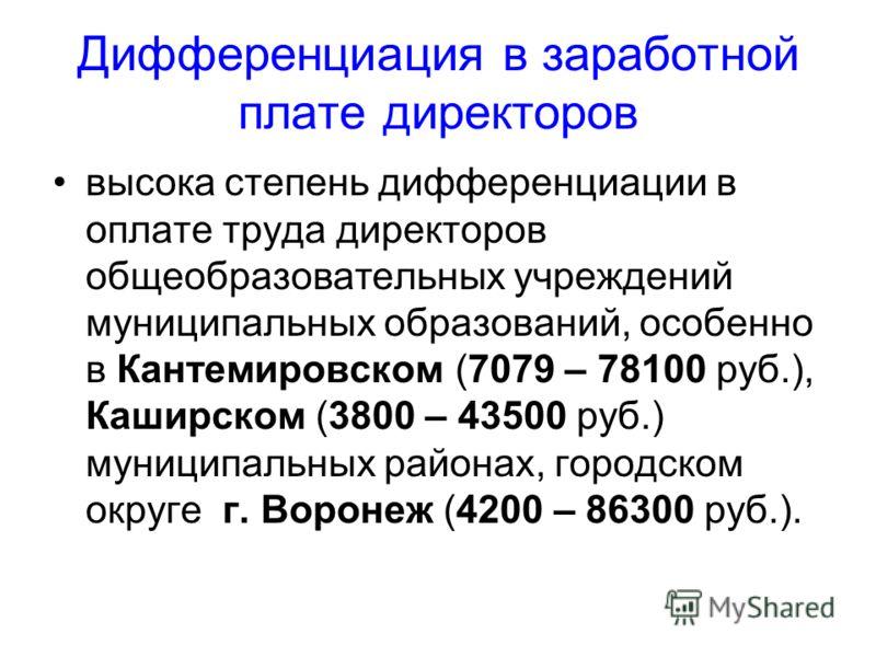 Дифференциация в заработной плате директоров высока степень дифференциации в оплате труда директоров общеобразовательных учреждений муниципальных образований, особенно в Кантемировском (7079 – 78100 руб.), Каширском (3800 – 43500 руб.) муниципальных