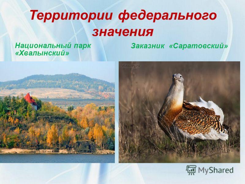 Территории федерального значения Заказник «Саратовский» Национальный парк «Хвалынский»