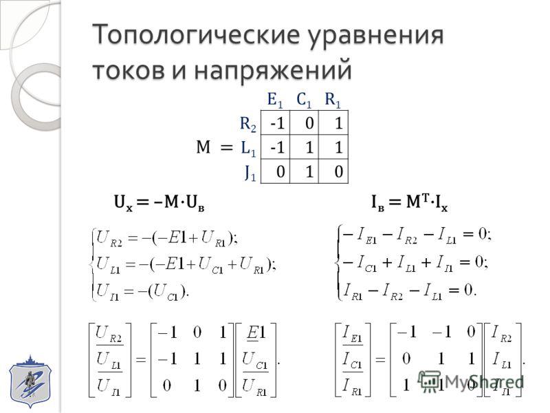 Топологические уравнения токов и напряжений E1E1 C1C1 R1R1 R2R2 01 L1L1 11 J1J1 010 M = U х = –M·U в I в = M T ·I х