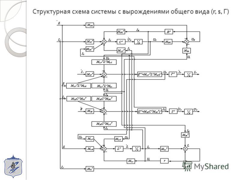Структурная схема системы с вырождениями общего вида (r, s, Г )