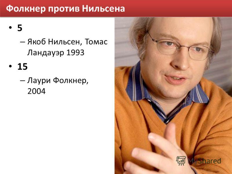 Фолкнер против Нильсена 5 – Якоб Нильсен, Томас Ландауэр 1993 15 – Лаури Фолкнер, 2004