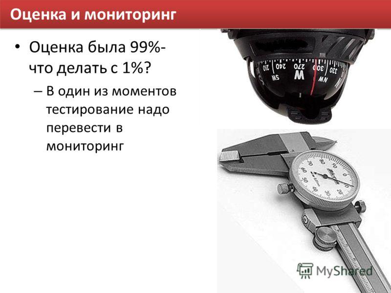 Оценка и мониторинг Оценка была 99%- что делать с 1%? – В один из моментов тестирование надо перевести в мониторинг