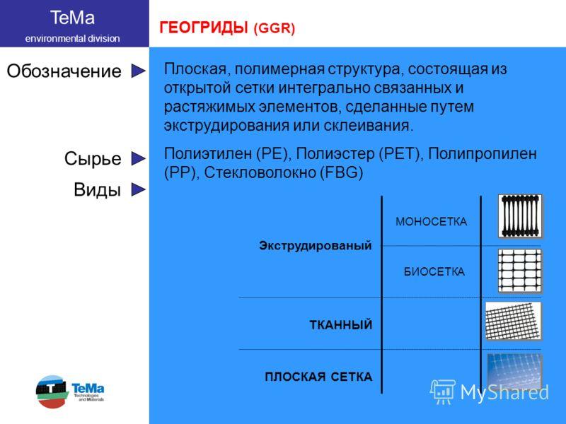 TeMa environmental division Обозначение Плоская, полимерная структура, состоящая из открытой сетки интегрально связанных и растяжимых элементов, сделанные путем экструдирования или склеивания. Сырье Полиэтилен (PE), Полиэстер (PET), Полипропилен (PP)
