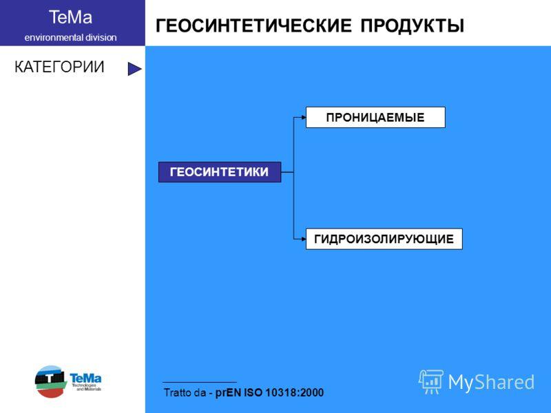 TeMa environmental division ГЕОСИНТЕТИЧЕСКИЕ ПРОДУКТЫ КАТЕГОРИИ Tratto da - prEN ISO 10318:2000 ГЕОСИНТЕТИКИ ПРОНИЦАЕМЫЕ ГИДРОИЗОЛИРУЮЩИЕ