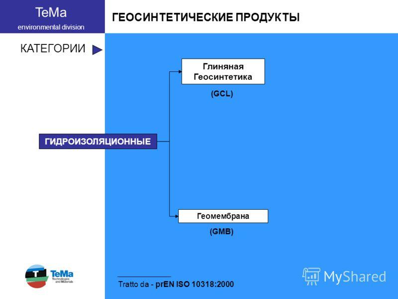 TeMa environmental division ГЕОСИНТЕТИЧЕСКИЕ ПРОДУКТЫ КАТЕГОРИИ Tratto da - prEN ISO 10318:2000 ГИДРОИЗОЛЯЦИОННЫЕ (GCL) Глиняная Геосинтетика Геомембрана (GMB)