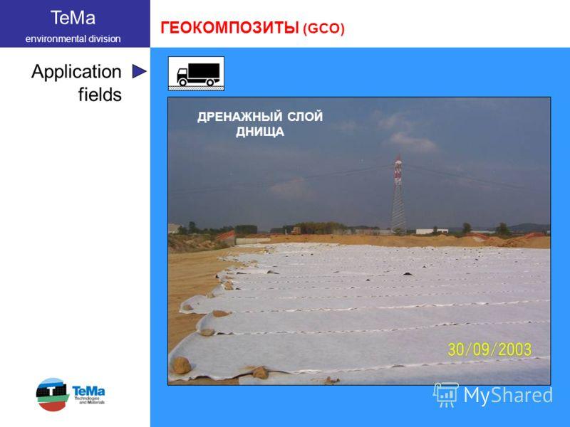 TeMa environmental division Application fields ГЕОКОМПОЗИТЫ (GCO) ДРЕНАЖНЫЙ СЛОЙ ДНИЩА