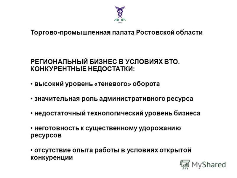 Торгово-промышленная палата Ростовской области РЕГИОНАЛЬНЫЙ БИЗНЕС В УСЛОВИЯХ ВТО. КОНКУРЕНТНЫЕ НЕДОСТАТКИ: высокий уровень «теневого» оборота значительная роль административного ресурса недостаточный технологический уровень бизнеса неготовность к су