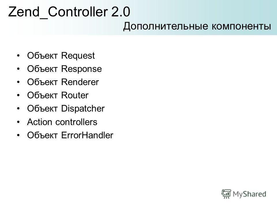 Объект Request Объект Response Объект Renderer Объект Router Объект Dispatcher Action controllers Объект ErrorHandler Zend_Controller 2.0 Дополнительные компоненты