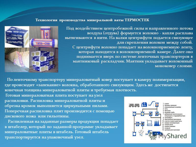 Технология производства минеральной ваты ТЕРМОСТЕК Готовая минераловатная плита поступает на узел распиловки. Распиловка минераловатной плиты и обрезка кромок выполняется циркульными пилами. Поперечная распиловка плит производится с помощью дискового