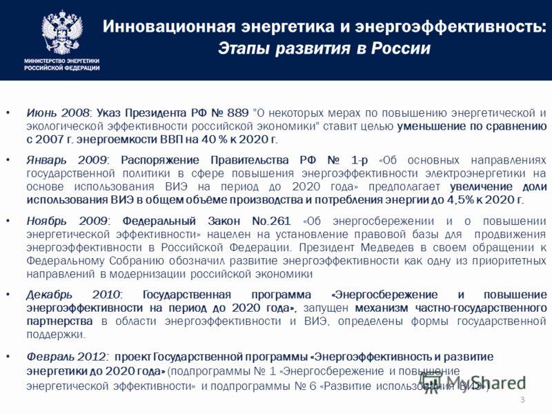Инновационная энергетика и энергоэффективность: Этапы развития в России 3 Июнь 2008: Указ Президента РФ 889