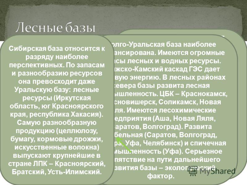 Северо-Европейская Центральная Урало-Поволжская Сибирская Выгодное транспортное ГП, большие запасы леса, обилие воды предопределили широкую специализацию райоена на продукции лесной промышленности. Крупные лесоперерабатывающие предприятия производят