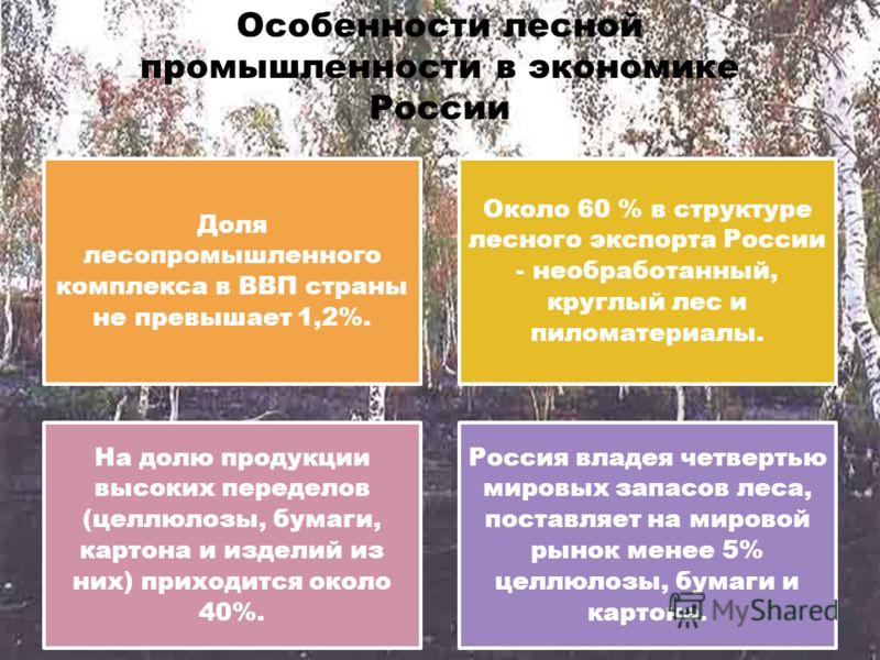 Особенности лесной промышленности в экономике России Доля лесопромышленного комплекса в ВВП страны не превышает 1,2%. Около 60 % в структуре лесного экспорта России - необработанный, круглый лес и пиломатериалы. На долю продукции высоких переделов (ц
