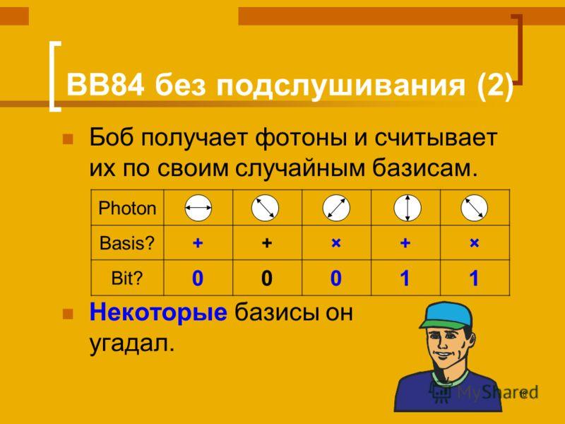 18 BB84 без подслушивания (2) Боб получает фотоны и считывает их по своим случайным базисам. Некоторые базисы он угадал. Photon Basis?++×+× Bit? 00011