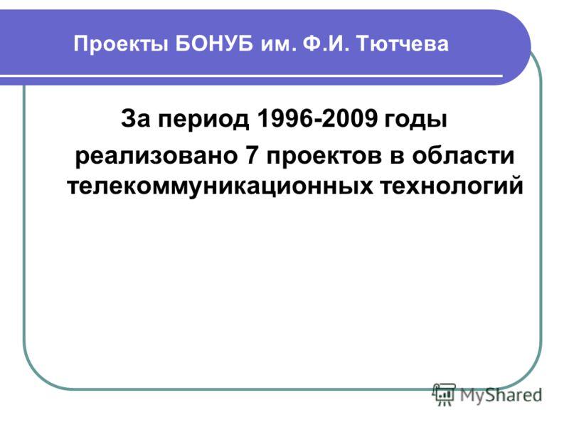 Проекты БОНУБ им. Ф.И. Тютчева За период 1996-2009 годы реализовано 7 проектов в области телекоммуникационных технологий