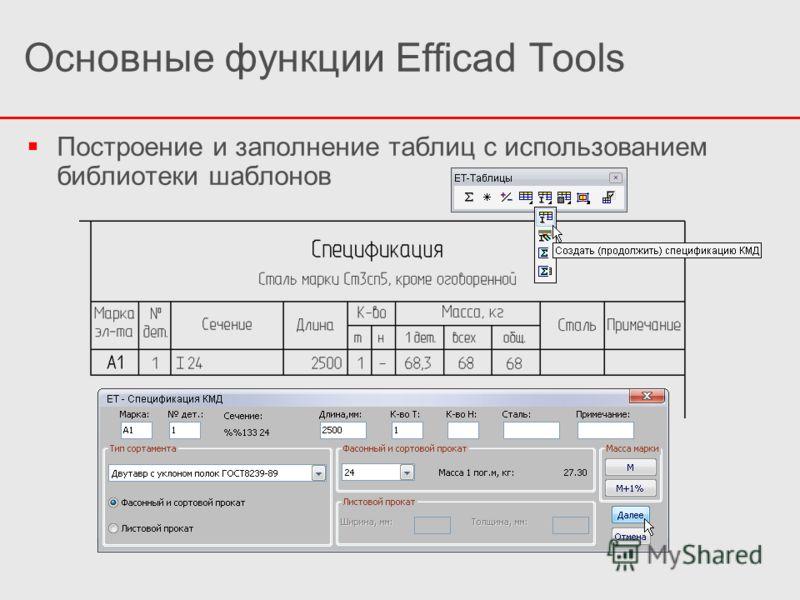 Построение и заполнение таблиц с использованием библиотеки шаблонов Основные функции Efficad Tools
