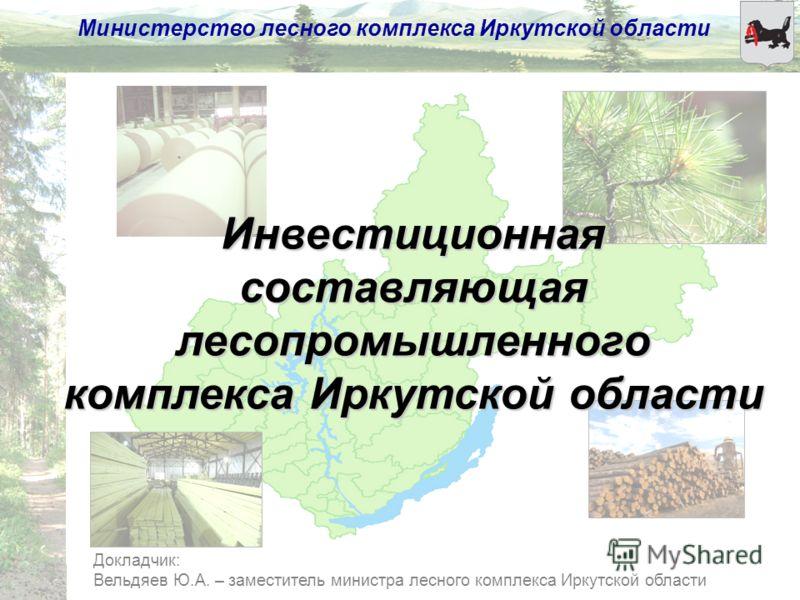 Министерство лесного комплекса Иркутской области Докладчик: Вельдяев Ю.А. – заместитель министра лесного комплекса Иркутской области Инвестиционная составляющая лесопромышленного комплекса Иркутской области