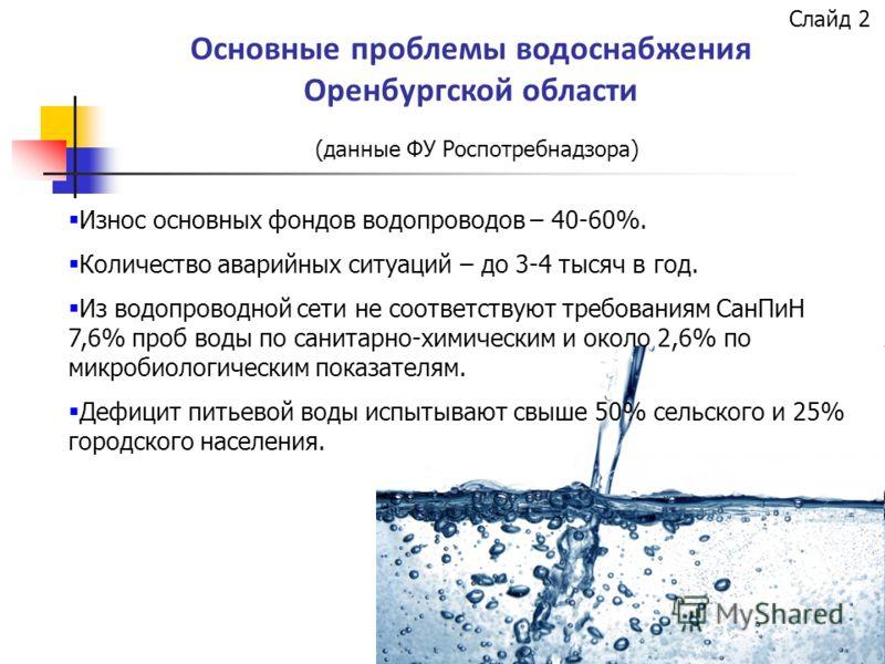 Основные проблемы водоснабжения Оренбургской области (данные ФУ Роспотребнадзора) Износ основных фондов водопроводов – 40-60%. Количество аварийных ситуаций – до 3-4 тысяч в год. Из водопроводной сети не соответствуют требованиям СанПиН 7,6% проб вод