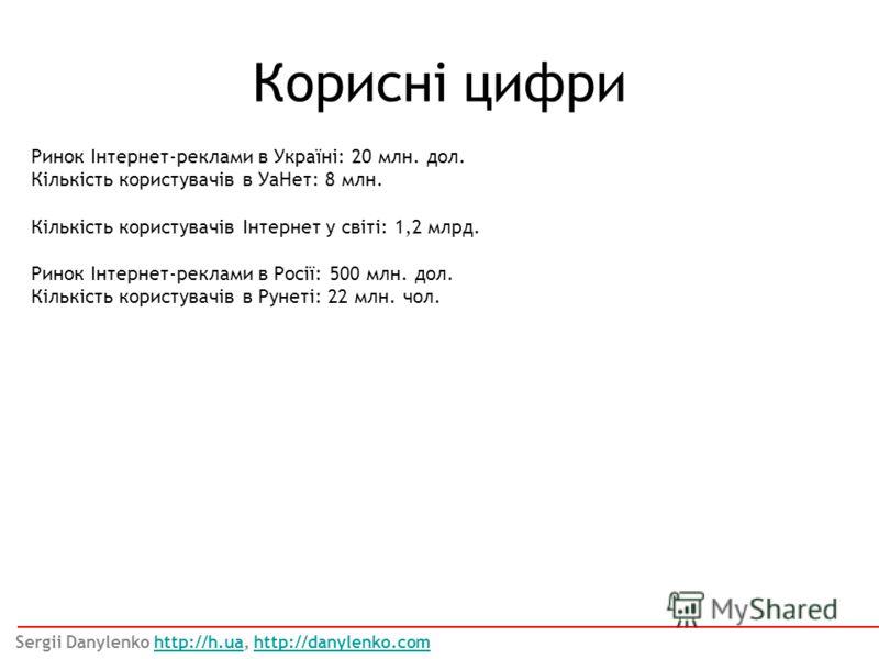 Корисні цифри Sergii Danylenko http://h.ua, http://danylenko.comhttp://h.uahttp://danylenko.com Ринок Інтернет-реклами в Україні: 20 млн. дол. Кількість користувачів в УаНет: 8 млн. Кількість користувачів Інтернет у світі: 1,2 млрд. Ринок Інтернет-ре