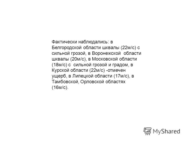 Фактически наблюдались: в Белгородской области шквалы (22м/с) с сильной грозой, в Воронежской области шквалы (20м/с), в Московской области (18м/с) с сильной грозой и градом, в Курской области (22м/с) -отмечен ущерб, в Липецкой области (17м/c), в Тамб