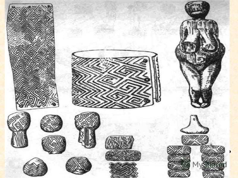Существует несколько гипотез и исследований происхождения и значения ромбического орнамента. Рассмотрим например точку зрения палеонтолога В. Бибиковой основанную на некоторых найденных предметах быта датированных палеолитом. Она утверждал что ромбо-