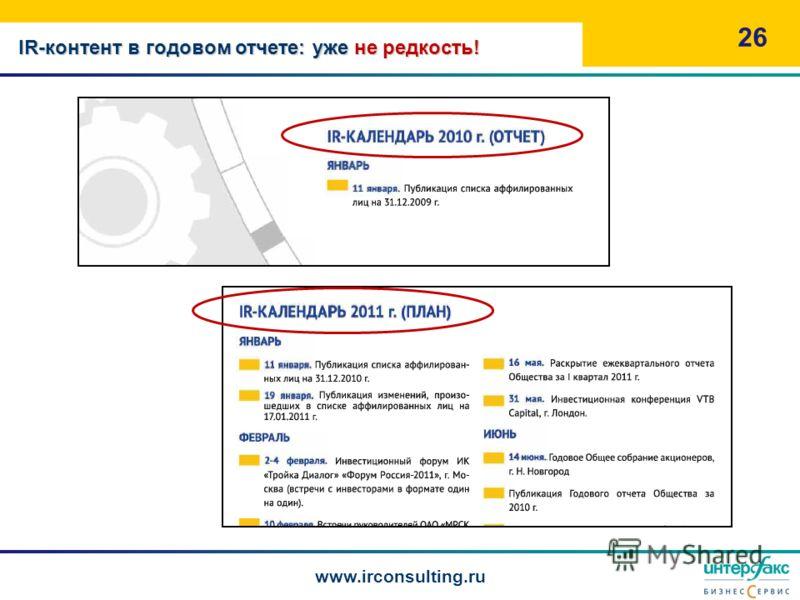 26 www.irconsulting.ru IR-контент в годовом отчете: уже не редкость!
