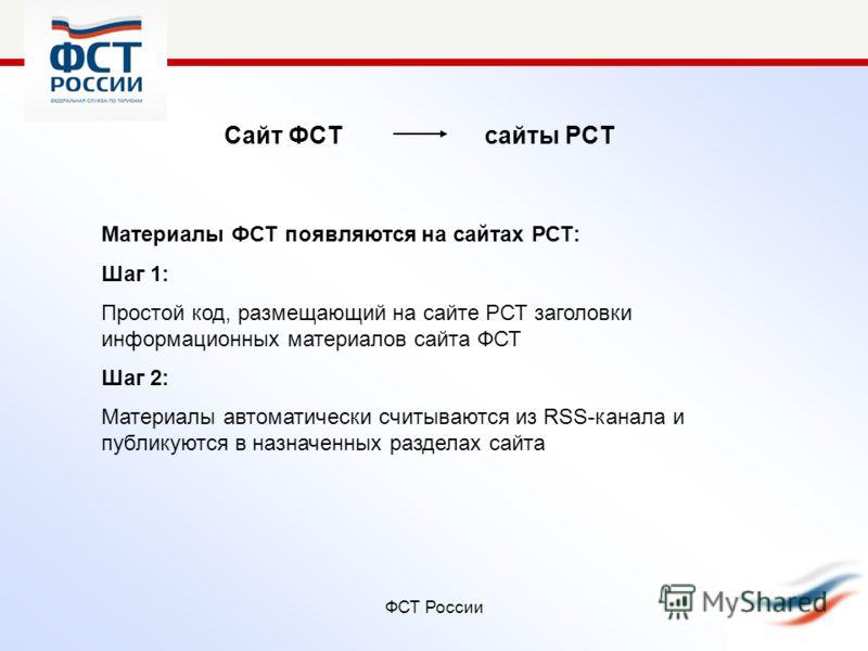 ФСТ России Сайт ФСТ сайты РСТ Материалы ФСТ появляются на сайтах РСТ: Шаг 1: Простой код, размещающий на сайте РСТ заголовки информационных материалов сайта ФСТ Шаг 2: Материалы автоматически считываются из RSS-канала и публикуются в назначенных разд