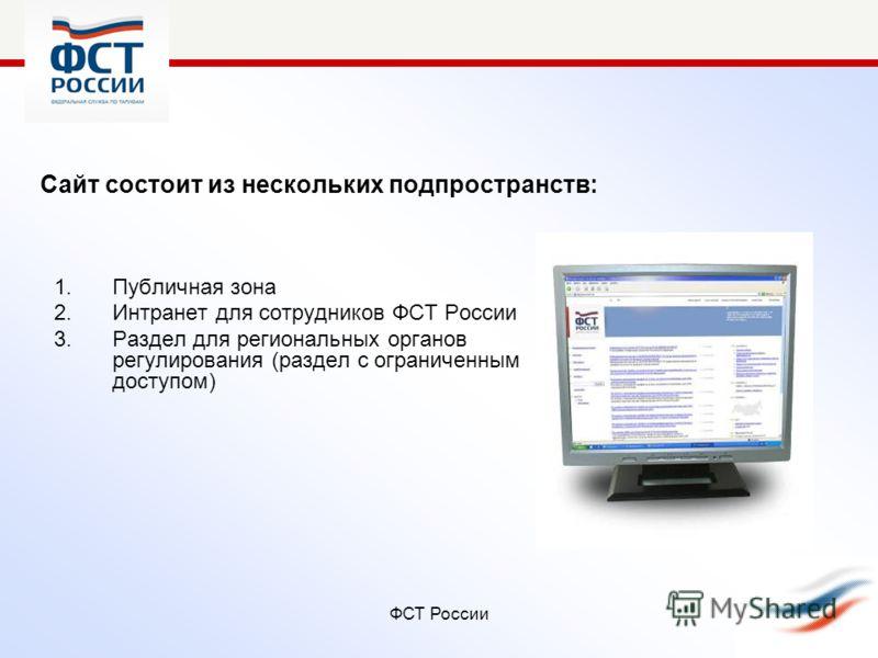 ФСТ России Сайт состоит из нескольких подпространств: 1.Публичная зона 2.Интранет для сотрудников ФСТ России 3.Раздел для региональных органов регулирования (раздел с ограниченным доступом)
