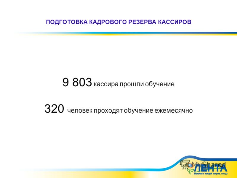 14 ПОДГОТОВКА КАДРОВОГО РЕЗЕРВА КАССИРОВ 9 803 кассира прошли обучение 320 человек проходят обучение ежемесячно