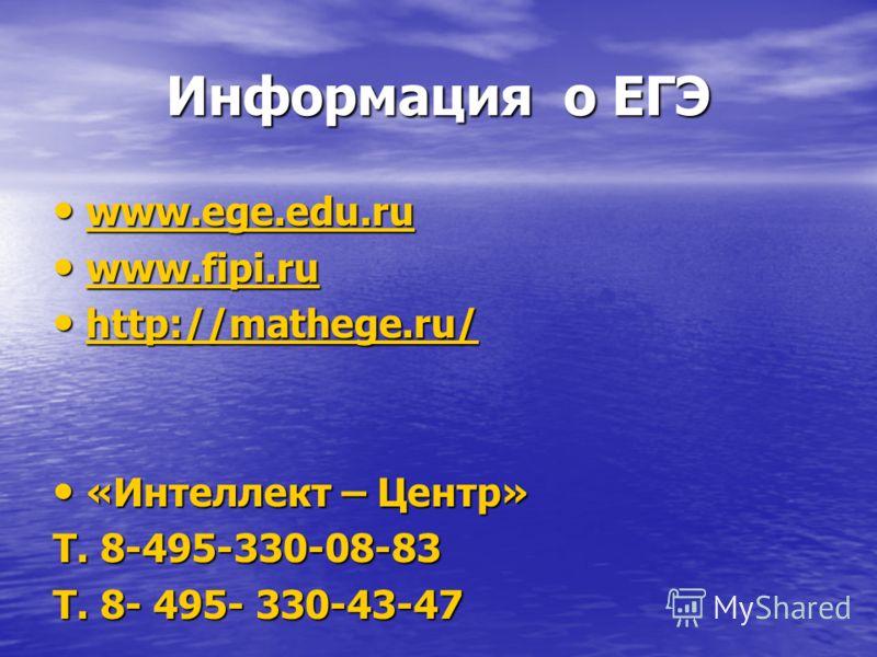 Информация о ЕГЭ www.ege.edu.ru www.ege.edu.ru www.ege.edu.ru www.fipi.ru www.fipi.ru www.fipi.ru http://mathege.ru/ http://mathege.ru/ http://mathege.ru/ http://mathege.ru/ «Интеллект – Центр» «Интеллект – Центр» Т. 8-495-330-08-83 Т. 8- 495- 330-43
