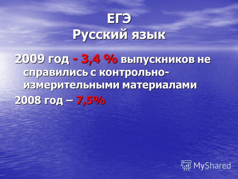 ЕГЭ Русский язык 2009 год - 3,4 % выпускников не справились с контрольно- измерительными материалами 2008 год – 7,5%