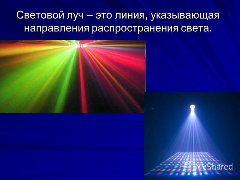 Световой луч – это линия, указывающая направления распространения света.