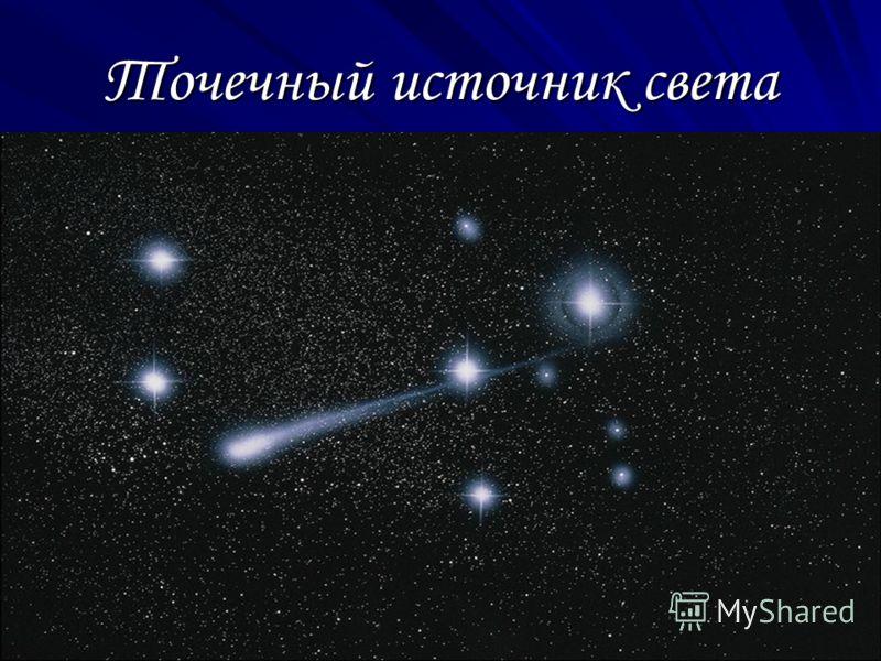 Точечный источник света Если размеры светящегося тела намного меньше расстояния, на котором мы оцениваем его действие, то светящееся тело называется точечным источником.