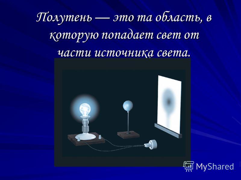 Полутень это та область, в которую попадает свет от части источника света.