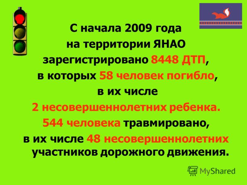 С начала 2009 года на территории ЯНАО зарегистрировано 8448 ДТП, в которых 58 человек погибло, в их числе 2 несовершеннолетних ребенка. 544 человека травмировано, в их числе 48 несовершеннолетних участников дорожного движения.