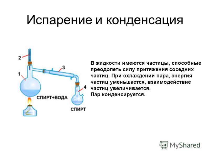 Испарение и конденсация В жидкости имеются частицы, способные преодолеть силу притяжения соседних частиц. При охлаждении пара, энергия частиц уменьшается, взаимодействие частиц увеличивается. Пар конденсируется.