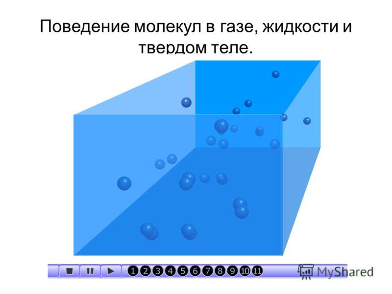 Поведение молекул в газе, жидкости и твердом теле.