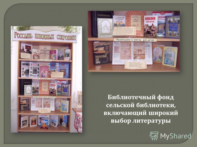 Библиотечный фонд сельской библиотеки, включающий широкий выбор литературы