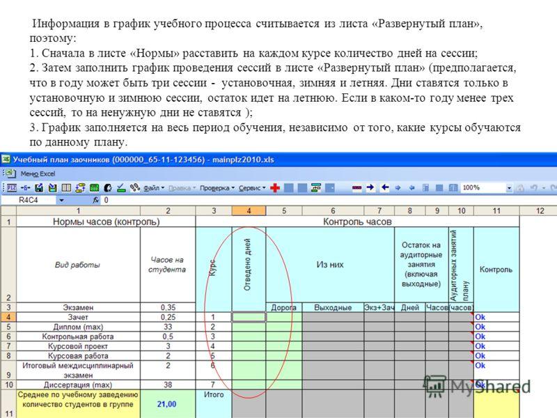 Информация в график учебного процесса считывается из листа «Развернутый план», поэтому: 1. Сначала в листе «Нормы» расставить на каждом курсе количество дней на сессии; 2. Затем заполнить график проведения сессий в листе «Развернутый план» (предполаг