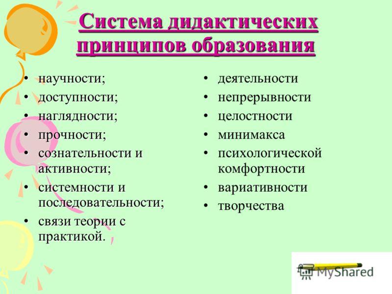 9 Система дидактических принципов образования Система дидактических принципов образования научности;научности; доступности;доступности; наглядности;наглядности; прочности;прочности; сознательности и активности;сознательности и активности; системности