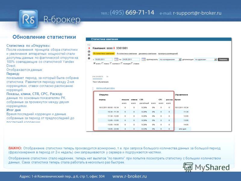 Обновление статистики Статистика по «Открутке»: После изменения принципа сбора статистики и увеличения аппаратных мощностей стали доступны данные по фактической открутке на 100% совпадающие со статистикой Yandex Direct. Отображаются данные: Период: п