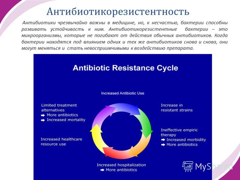 Антибиотикорезистентность Антибиотики чрезвычайно важны в медицине, но, к несчастью, бактерии способны развивать устойчивость к ним. Антибиотикорезистентные бактерии – это микроорганизмы, которые не погибают от действия обычных антибиотиков. Когда ба