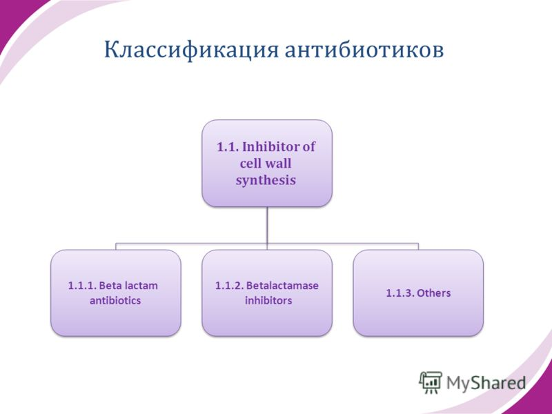 1.1. Inhibitor of cell wall synthesis 1.1. Inhibitor of cell wall synthesis 1.1.1. Beta lactam antibiotics 1.1.1. Beta lactam antibiotics 1.1.2. Betalactamase inhibitors 1.1.2. Betalactamase inhibitors 1.1.3. Others Классификация антибиотиков