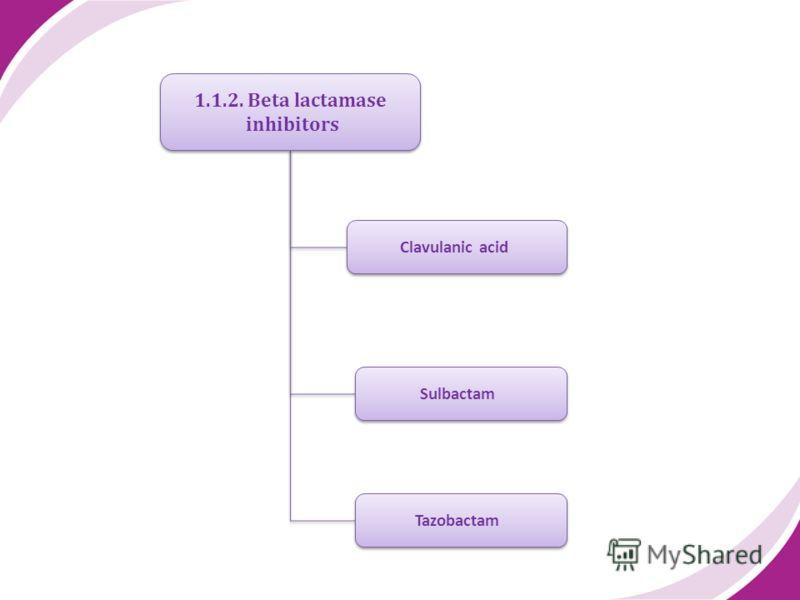 1.1.2. Beta lactamase inhibitors 1.1.2. Beta lactamase inhibitors Clavulanic acid Sulbactam Tazobactam