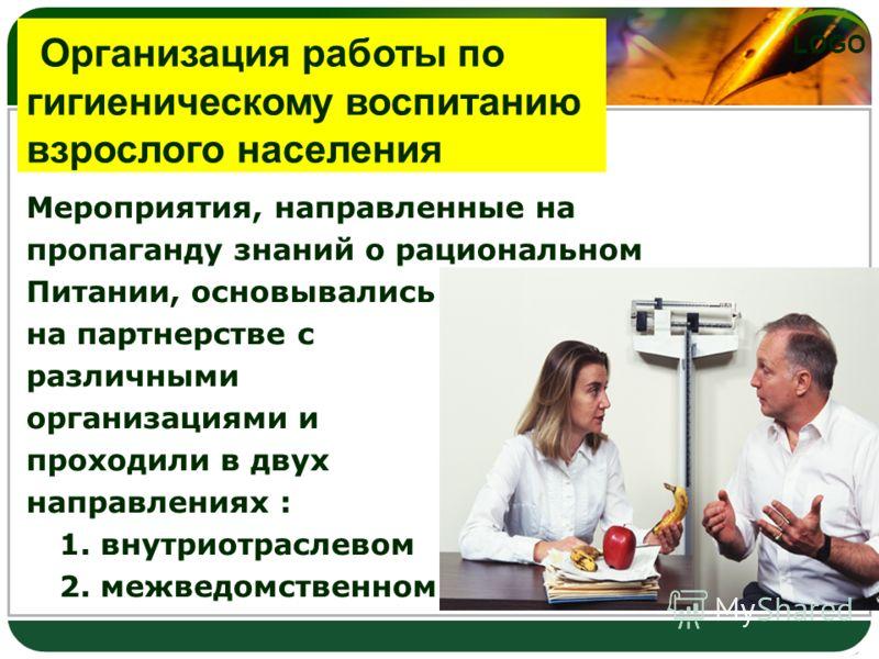 LOGO Мероприятия, направленные на пропаганду знаний о рациональном Питании, основывались на партнерстве с различными организациями и проходили в двух направлениях : 1. внутриотраслевом 2. межведомственном Организация работы по гигиеническому воспитан