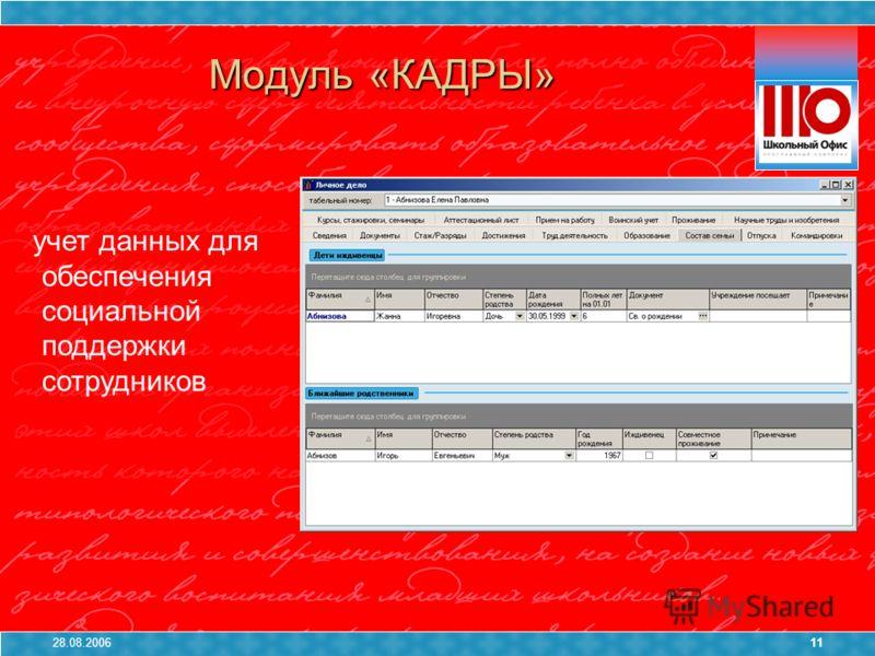 28.08.200611 Модуль «КАДРЫ» учет данных для обеспечения социальной поддержки сотрудников