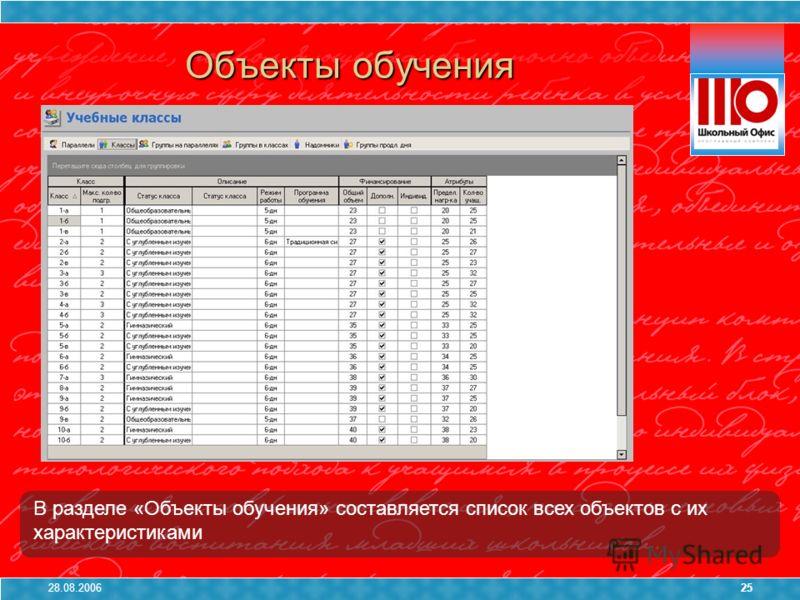 28.08.200625 В разделе «Объекты обучения» составляется список всех объектов с их характеристиками Объекты обучения