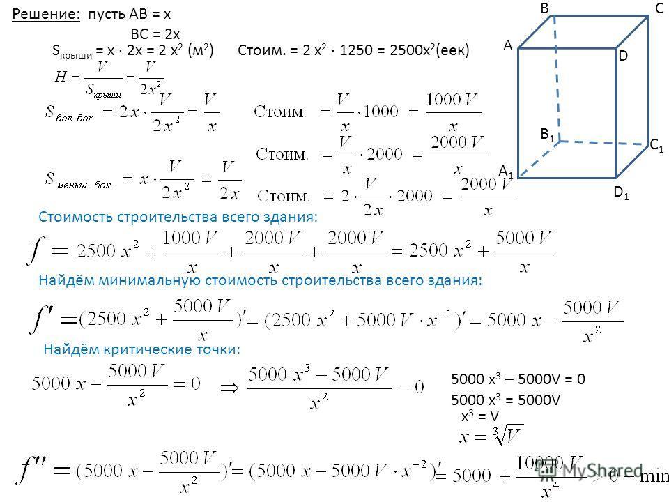 Решение: пусть АВ = х ВС = 2 х B1B1 А1А1 D СВ А C1C1 D1D1 S крыши = х 2 х = 2 х 2 (м 2 ) Стоим. = 2 х 2 1250 = 2500 х 2 (ее) Стоимость строительства всего здания: Найдём минимальную стоимость строительства всего здания: Найдём критические точки: 5000