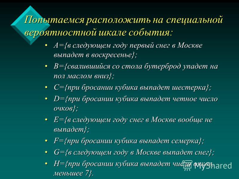 Попытаемся расположить на специальной вероятностной шкале события: А={в следующем году первый снег в Москве выпадет в воскресенье};А={в следующем году первый снег в Москве выпадет в воскресенье}; В={свалившийся со стола бутерброд упадет на пол маслом