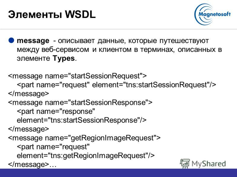 Элементы WSDL message - описывает данные, которые путешествуют между веб-сервисом и клиентом в терминах, описанных в элементе Types. …